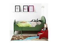 Adorable and extendable Green Trogen Children's Bed, Ikea Mattress, Slatted Base