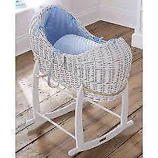 Noah pod (moses basket) & rocking stand (blue &white)