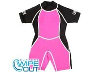 Surfers Wipeout Wetsuit brand new with tags - pink girls shortie wetsuit age 10-12