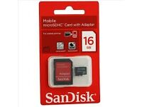 Sandisk memory card 16gb and adapter (as new)