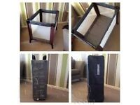Black Travel Cot/Playpen with padded mattress base & carry bag, excellent condition