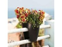 BRAND NEW GREENBO RAILING DECK PLANT HERBS FLOWER BOX IN BLACK