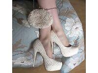 NEW LOOK Cream Ivory Lace Platform High Heels Shoes Wedding 7/40
