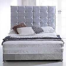 Sale On Furniture-New Double & King Size Crush Velvet Divan Bed Base With Opt Mattress- Order Now