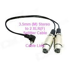 3.5mm (M) Stereo To 2 XLR(F) Splitter Adapter Cable