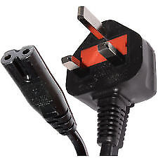 Quality mains power cable 2pin fig 8 forDVDs,PS,TVs,sky boxes,projectors,stereos etc at £5 3 for £10