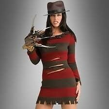 Miss Krueger Freddy Nightmare Elm Street Fancy Dress Costume SIZE 8/10/12 GREAT FOR PARTY OR HEN DO