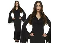 GOTHIC VELVET MORTICIA ADDAMS FAMILY /BLACK VAMP DRESS SIZE 10/12 GREAT FOR PARTY OR HEN DO