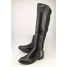 3 BLACK FAUX LEATHER KNEE HIGH RIDING FALL BOOTS SIZE 7/8