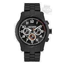 Harley-Davidson Mens Chronograph Brake Plate Watch, Black Stainl  78B138