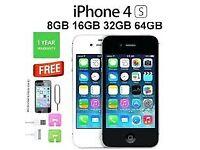 Brand NEW I phone 4S White/Black 16GB Unlocked £65 , 1 Year Warranty+ FREE delivery