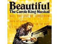 Beautiful 'The Carole King Musical' tickets for two on 30/03/17 - 19:30