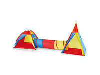 Large Pop Up 3 in 1 Boys /Girls Play Tent and Tunnel Set