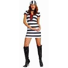 PRISONER / CONVICT FANCY DRESS OUTFIT SIZE 12/14 GREAT FOR PARTY OR HEN DO