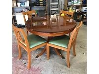 Yew Extending Dining Table and 4 chairs and glass protector