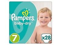 baby toddler nappies pampers size 7