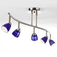 Perfect Condition 2 Light Adjustable Track Light With Blue Glass