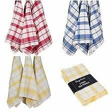 SUPER ABSORBENT WAFFLE TEA TOWELS IN RED YELLOW OR BLUE 1 PACK OF 6
