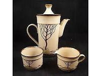 "Denby Savoy - Coffee Pot + 8x Espresso Cups and Saucers 8x 6"" Plates with Sugar Bowl and Cream Jug"