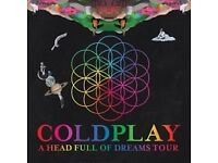 COLDPLAY TICKETS x 2 Cardiff 11 July 2017 seated section U22 row 32 great seats