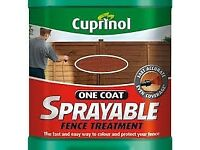 5 ltrs of Cuprinol One Coat Sprayable Fence Treatment Autumn Brown - Bargain.