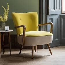 Brand New Boxed Atkin & Thyme Calvin Armchair in Mustard Yellow Velvet and Linen
