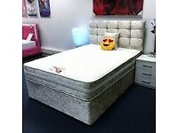 🎆💖🎆FREE AND QUICK DELIVERY🎆💖🎆CRUSH VELVET DOUBLE DIVAN BED + SEMI ORTHOPEDIC MATTRESS