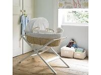John Lewis Moses Basket, white stand & few fitted covers