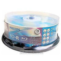 PHILIPS BD-R 6X 25GB DISCS 25 PACK SPINDLE