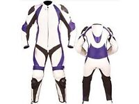 Ladies White/Purple Motorbike Leather Racing Suit! 1 or 2 pc
