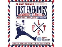 2x Frank Turner tickets for Monday 14th May at the Roundhouse