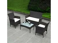 RATTAN GARDEN FURNITURE SET 4 PIECE CHAIRS SOFA TABLE - (BRAND NEW IN BOX)