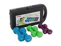 York Fitness Weight Training Vinyl Coated Dumbbell Set with Storage Box