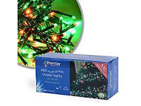 NEW BOXED 480 RED GREEN / MULTI ACTION LED Cluster XMAS Lights.indoor/outdoor 6.2 mtr & 10 mtr lead