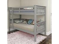Optional Mattresses-Single Wooden Bunk Bed Frame in White and Oak Color Options