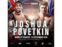 2 x Anthony Joshua v Povetkin tickets block 125 row 13 tickets in hand and can post or be collected.