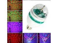 B22 3W RGB LED Full Color DJ Stage Light Bulb Auto Rotating Crystal Disco LampDG