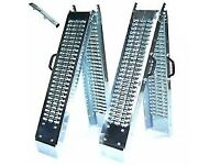 PAIR OF NEW STEEL FOLDING RAMPS ( Ride on Lawnmower, Quad, Car trailer)