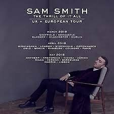SAM SMITH - TOUR TICKETS - FLOOR SEATS APRIL 2018
