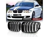 Dual Slated Gloss Black Grill for BMW 1 Series Coupe 2007-2013 E82