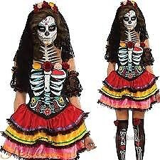LADIES DAY OF THE DEAD FANCY DRESS SIZE 10/12 / 14 WITH WIG GREAT FOR HALLOWEEN