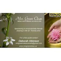 Mrs. Green Clean Cleaing Service 3 hour clean for $60