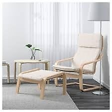 65% off IKEA POÄNG Armchairs and Footstools in Birch with Ivory Cushions