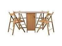 Butterfly Oval Dining Table and 4 Chairs - Oak Stain
