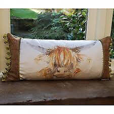 Highland Coo Patch Print Cushion, Voyage Maison, Tweed Details, Olive Backing, Feather Filled