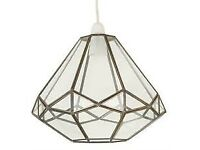 Homebase Philomena Octagonal Glass and metal pendant Light fitting shade, like terrarium, BNIB