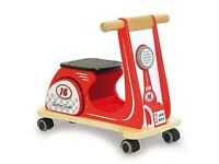 Red wooden Jamm Scoot scooter