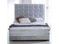 🌊 Furniture On Sale🌊DOUBLE/KING SIZE CRUSH VELVET DIVAN BED BASE WITH OPTIONAL MATTRESS-CALL NOW👑