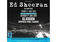2x Ed Sheeran Standing tickets, Glasgow. 2nd June