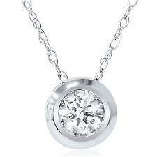 Diamond bezel pendant ebay diamond solitaire pendant bezel aloadofball Images